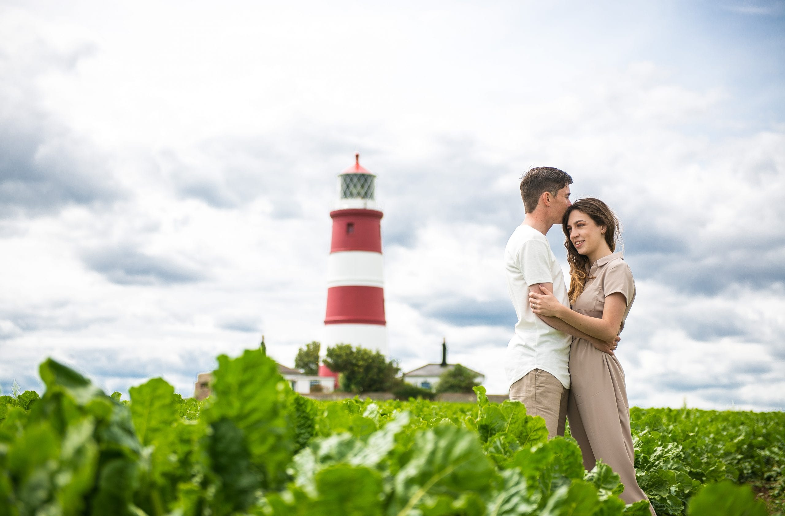 Engagement photoshoot at Happisburgh beach and lighthouse in norfolk