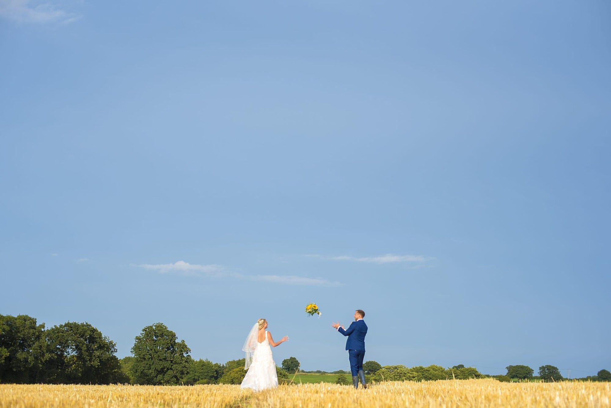 Summer walks catching the wedding bouquet