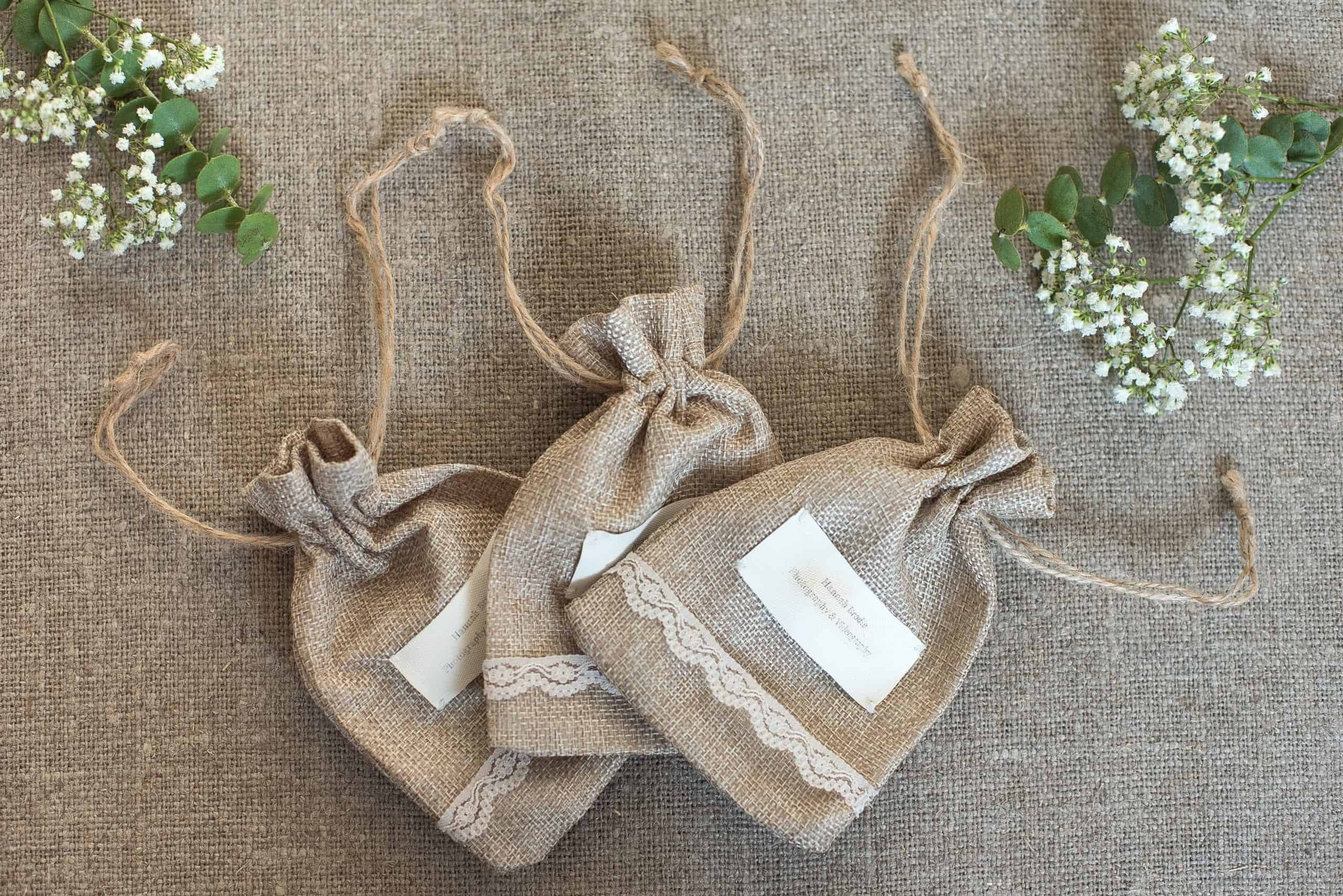 Personalised USB Stick Hessian bags for wedding client photos