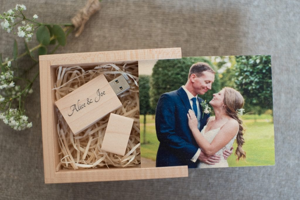 Personalised USB Stick and Box for wedding clients
