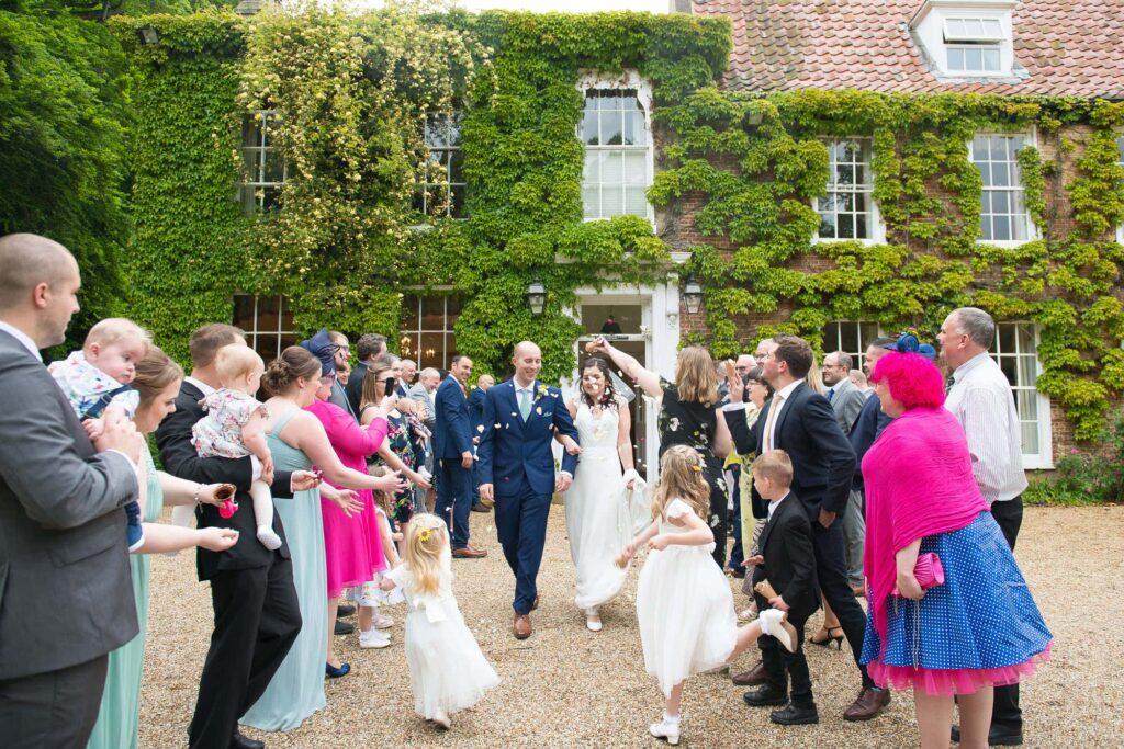 Wedding confetti shot at Stower Grange Hotel, Norfolk