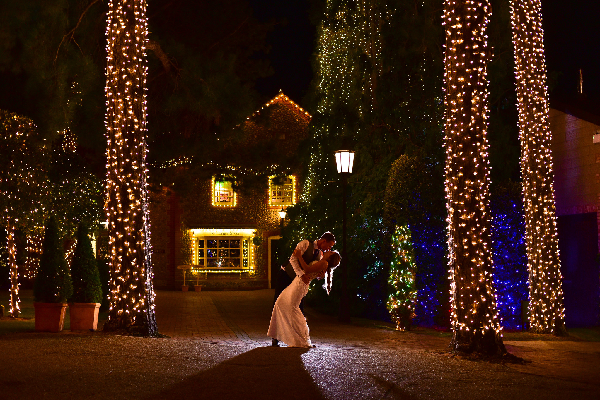 night time wedding photography at thursford garden pavilion in norfolk